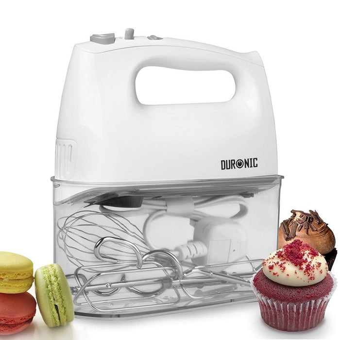 Duronic HM4W Electric Hand Mixer Set 400W - 2 Beaters | 2 Hooks | 1 Whisk – Baking - Storage Case Stand White 5 Speed Turbo Function…