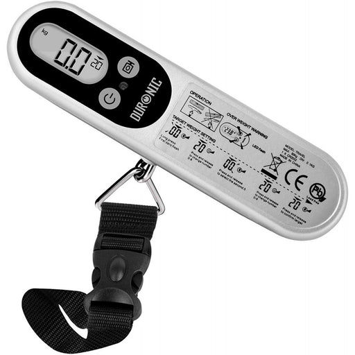 Duronic Digital Luggage Scales (silver) LS1014 | 50kg Capacity | Programmable | Weighs Suitcases and Bags | Overweight Warning Light | Portable | Strong Straps | For Air Travel | Battery Included