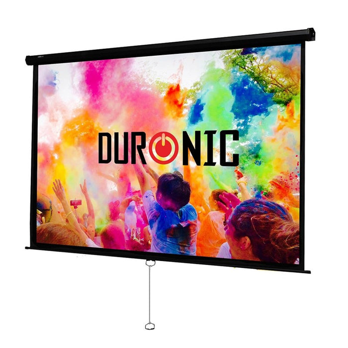 Duronic Projector Screen MPS100/169 Manual Pull Down HD Projection Screen For | School | Theatre | Cinema | Home Projector Screen - 100-16:9 Widescreen- Matte White Screen - Wall Ceiling Mountable 4K / 8K Ultra HDR 3D Ready (16:9)