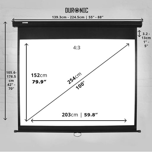 "Duronic Projector Screen MPS100/43 Manual Pull Down HD Screen For | School | Theatre | Cinema | Home Projection Screen - 100"" (Screen: 203cm(W) X 152cm(H) 4:3 Widescreen- Matte White Screen 4K / 8K Ultra HDR 3D Ready (4:3)"
