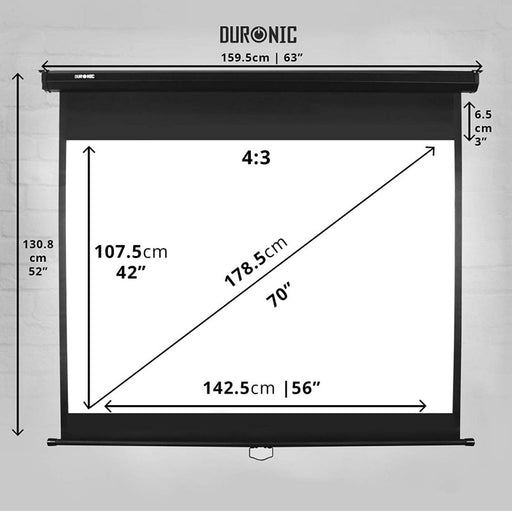 "Duronic Projector Screen MPS70 Manual Pull Down HD Projection Screen For | School | Theatre | Cinema | Home Projector Screen - 70"" (Screen: 107.5cm(w) X 142.5cm(h)) - Matte White Screen 4K / 8K Ultra HDR 3D Ready (4:3)"