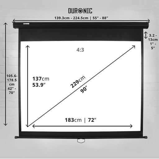 "Duronic Projector Screen MPS90/43 Manual Pull Down HD Projection Screen For | School | Theatre | Cinema | Home Projector Screen - 90"" (Screen: 183cm (w) X 137cm (h)) - Matte White Screen 4K / 8K Ultra HDR 3D Ready (4:3)"