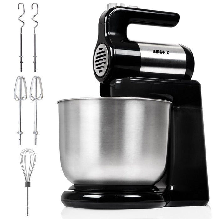 Duronic Stand Mixer SM3 | 2-in-1 Design: Standing Mixer or Handheld Mixer | Electric | 300W | Black & Stainless-Steel | 5 Speed | Turbo Function | 4 Litre Bowl | 2 Beaters | 2 Hooks | 1 Whisk…