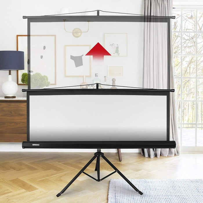"Duronic Projector Screen TPS86/43 (Black) Projection Screen For | School | Theatre | Cinema | Home | Tripod Projector Screen - 86""- 4:3 Screen (Screen: 175cm (W) X 131cm (H) 4K / 8K Ultra HDR 3D Ready"