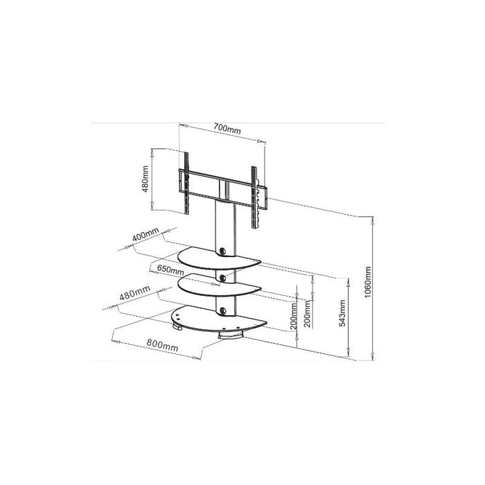 "Duronic 30""-65"" TV Stand TVS213BS - 3 Shelf Model - Glass Floor 30""-65"" TV Stand and Swivel Bracket. Suitable for LCD, Plasma, Led, 3D TV`s 32"" 37"" 40"" 42"" 46"" 50"" 65"" VESA 700 X 400"