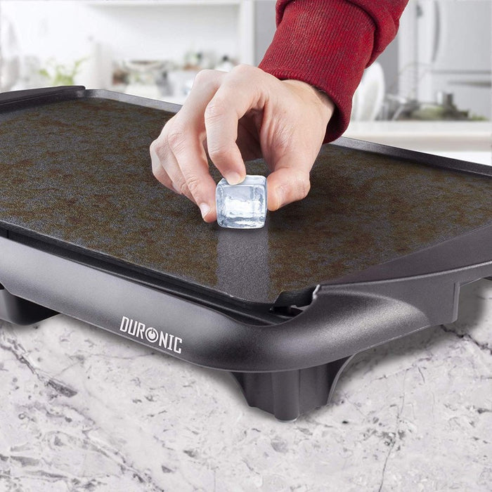 Duronic Electric Griddle GP20 | Non-Stick Teppanyaki Grill Pan | Large Table-top Breakfast Cooking Plate | 52x27cm | Easy Clean | Fat Drip Tray | Adjustable Temperature | Indoor Portable BBQ Barbecue