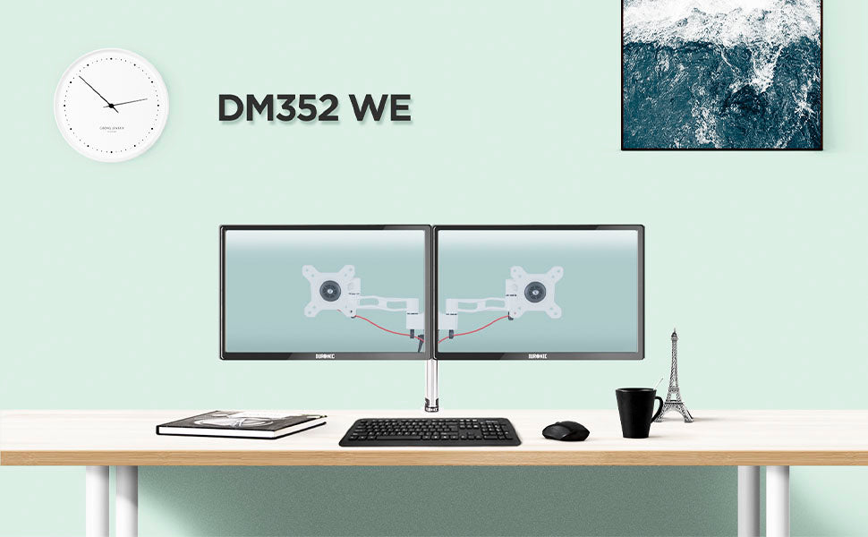 dm352 SR, silver, desk, mount, bracket, stand, support, riser, arm, double, two, twin, duo, dual, office, computer