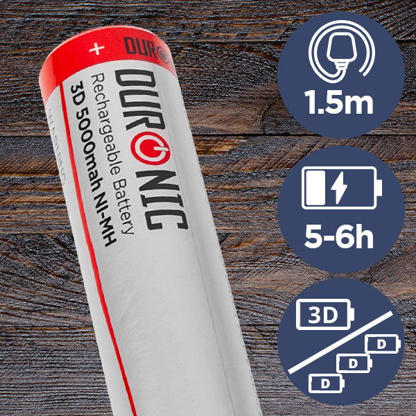 rechargeable battery shown, torch can take 3x C batteries. Battery life is 5-6 hours
