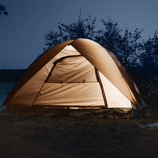 camping tent in an outdoor natural area with trees, tent is glowing from inside