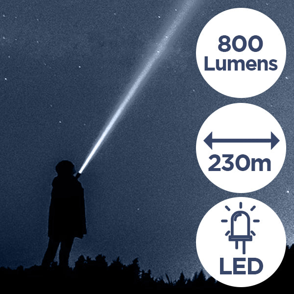 800 lumens, 230 metre range and it has an LED bulb