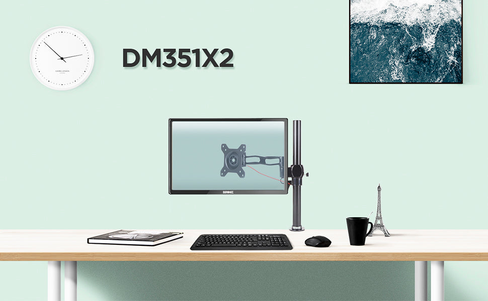 dm351x2, desk, mount, bracket, stand, support, riser, arm, double, two, twin, duo, dual, office, computer