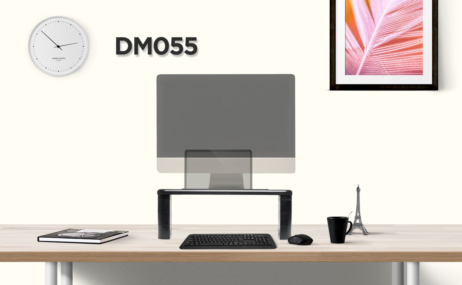 dm055, desk, mount, riser, stand, monitor, screen, computer, laptop, keyboard, tidy, space saver, office