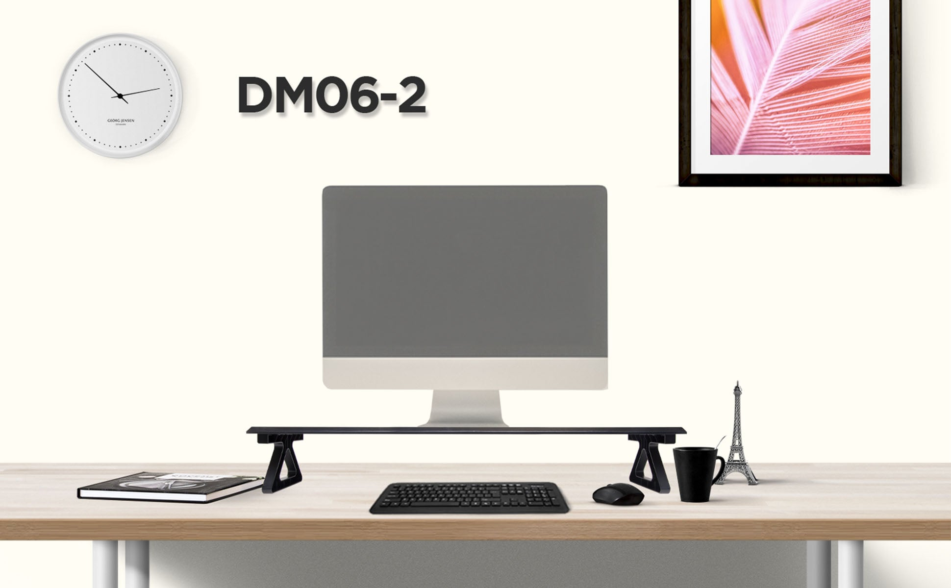 dm06-2, desk, mount, riser, stand, monitor, screen, computer, laptop, keyboard, tidy, space saver, office