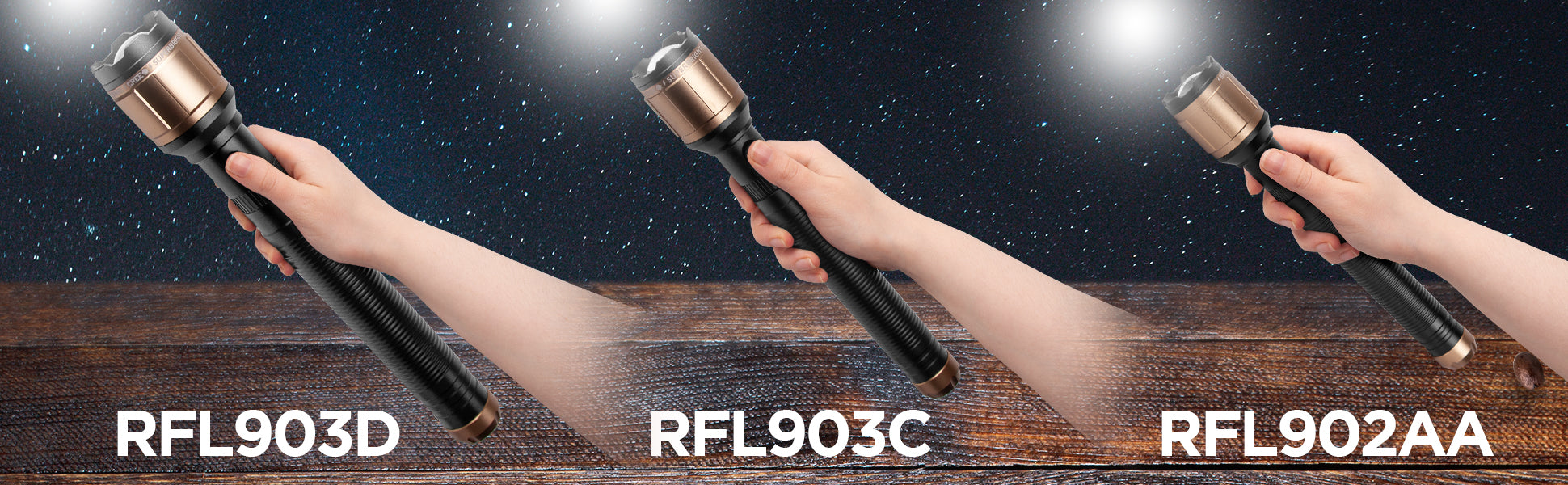 range of duronic torches shown: RFL903D, RFL903C and RFL902AA