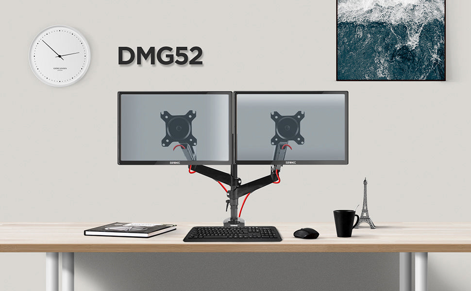 dmusb5x1, silver, desk, mount, bracket, stand, support, riser, arm, double, two, twin, duo, dual, office, computer