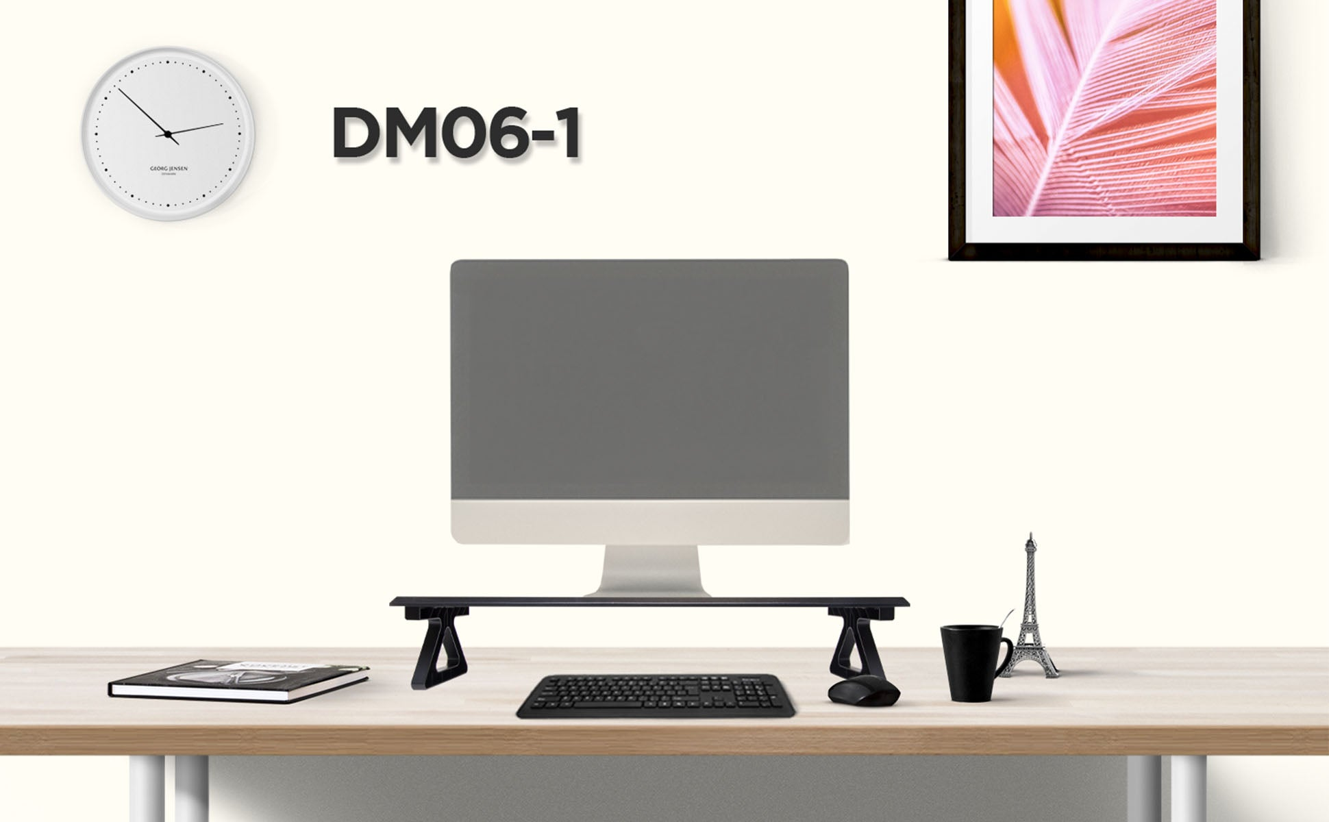 dm06-1, desk, mount, riser, stand, monitor, screen, computer, laptop, keyboard, tidy, space saver, office