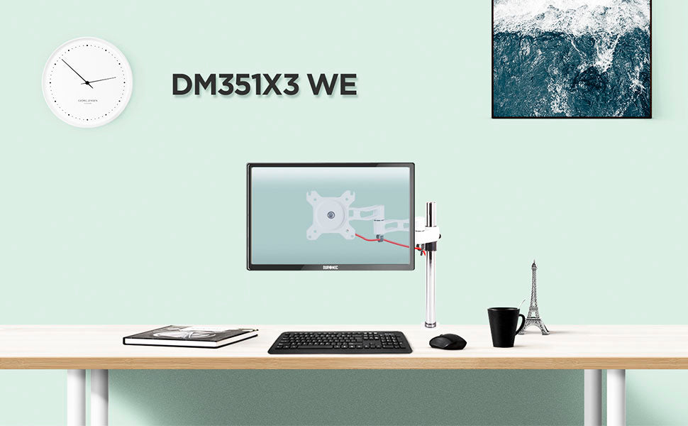 dm351x3, desk, mount, bracket, stand, support, riser, arm, double, two, twin, duo, dual, office, computer
