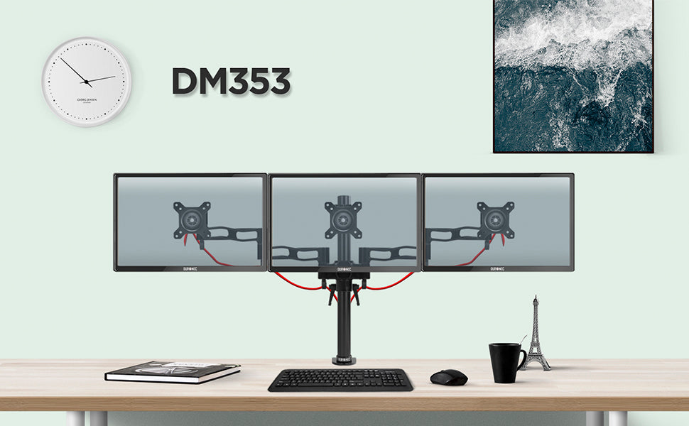 dm353, silver, desk, mount, bracket, stand, support, riser, arm, double, two, twin, duo, dual, office, computer