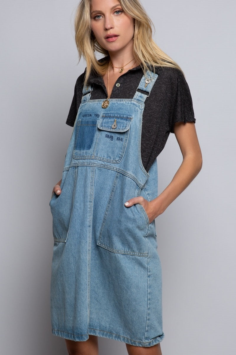 EMBROIDERED DENIM OVERALL MINI DRESS