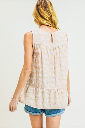 Women's Floral Sleeveless Cotton/Rayon Top