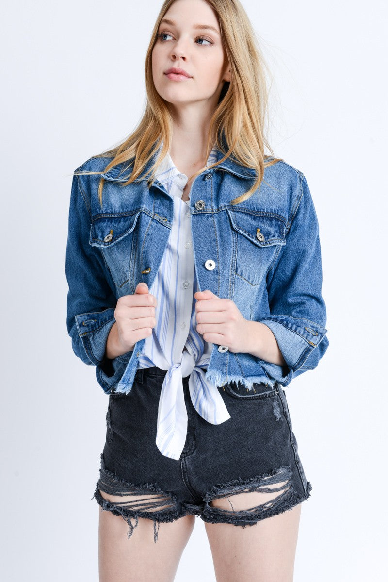 Steelblue Lovetree Denim Cropped Cotton Jacket