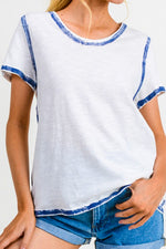 Steelblue Cotton Bleu Women's Cotton Short sleeve Top