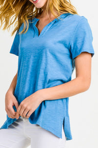 Steelblue Cotton Bleu Washed Cotton Knit Top