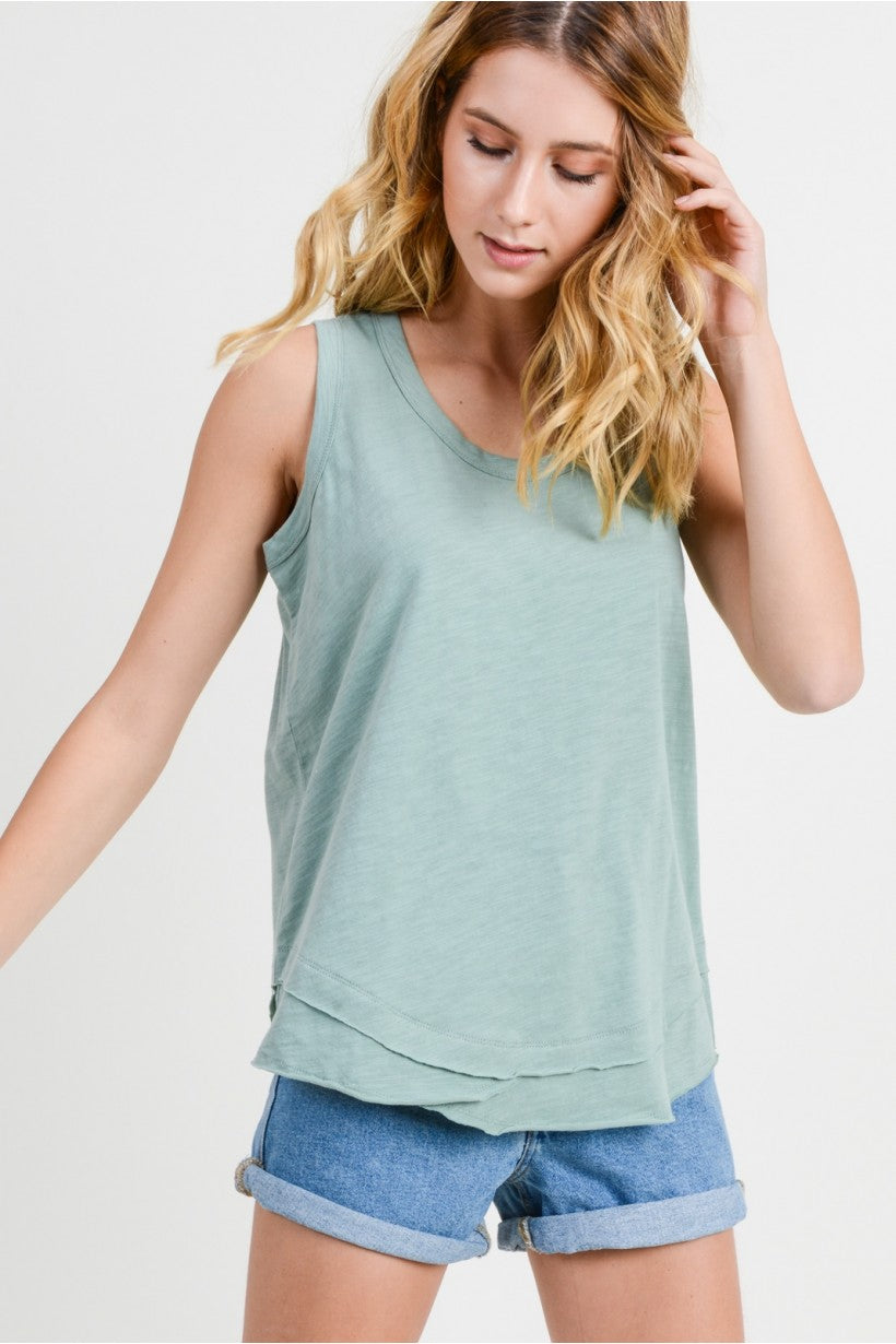 DESERT SAGE - CASUAL COTTON RIB TANK