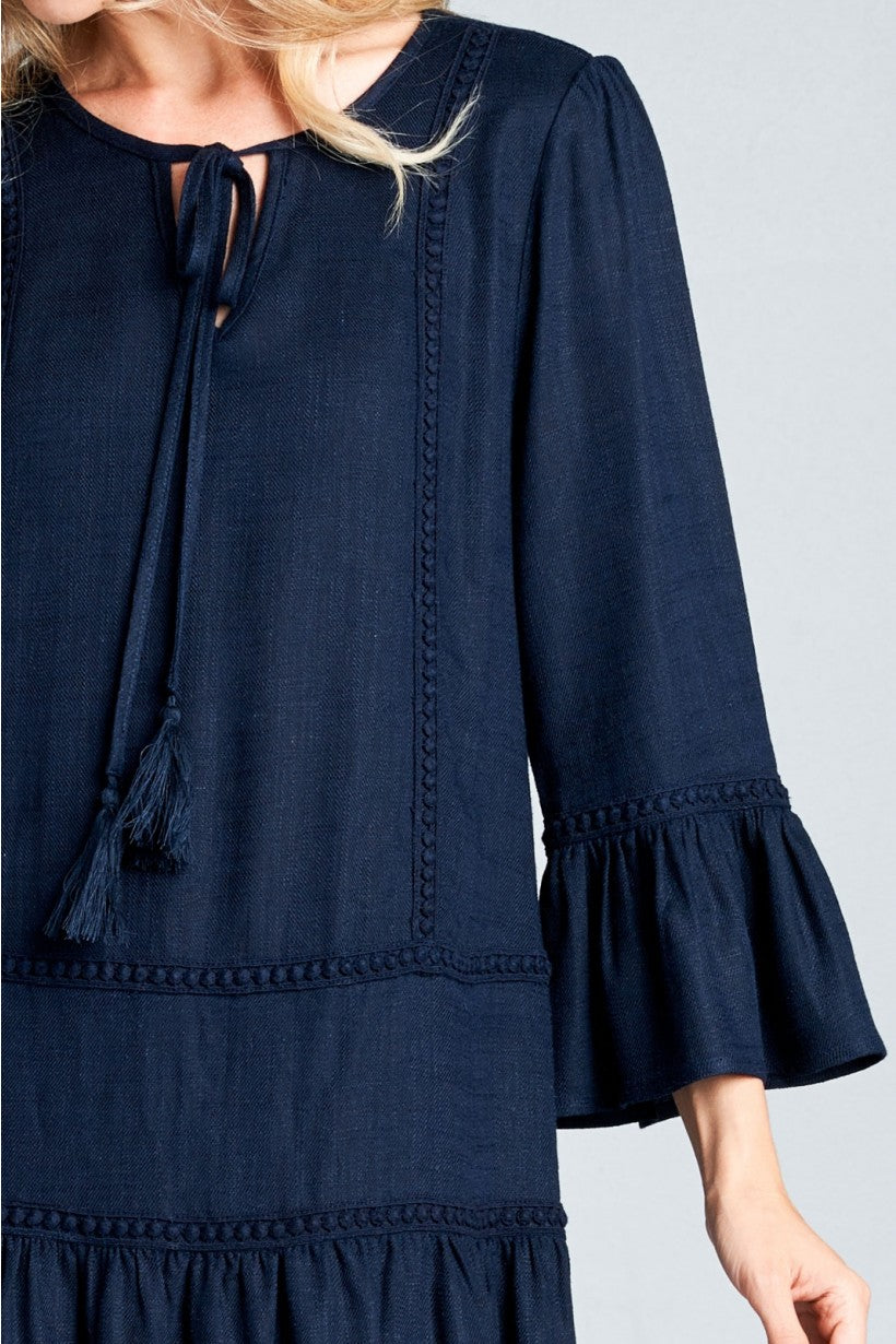 NAVY - WOMEN'S RUFFLE HEM DRESS - TASSEL FRINGE FRONT