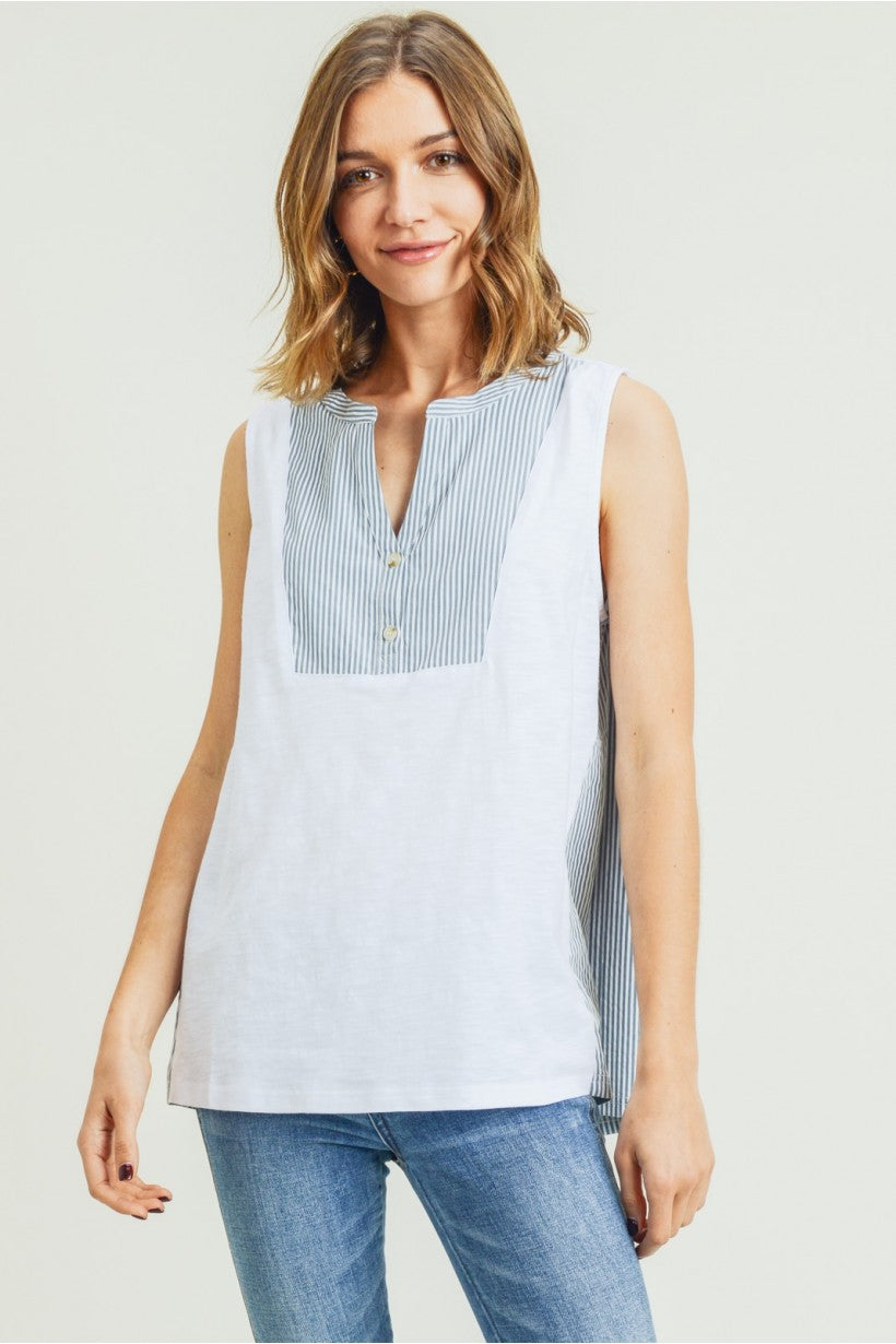 Women's Knit Sleeveless Top W/ Contrast Front Neck Detailed