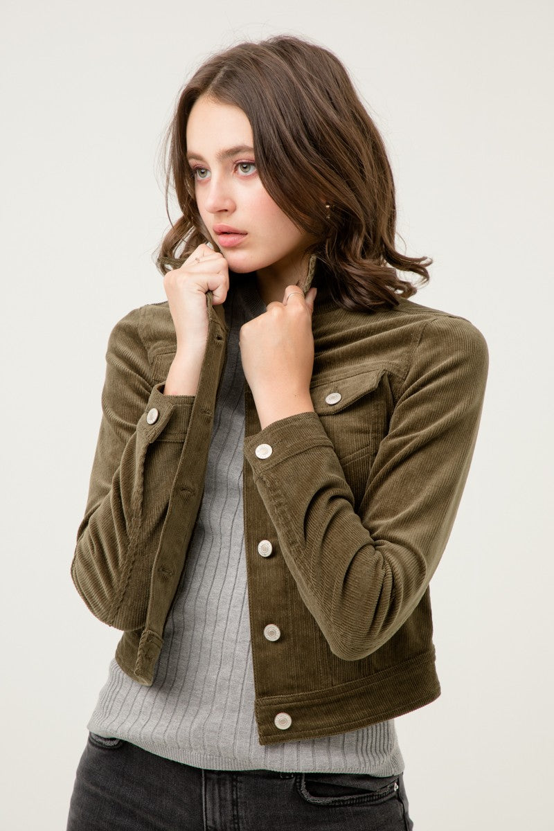 steelblue corduroy button jacket olive layer
