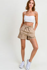 Women's Washed Linen Shorts w/Elastic Waistband