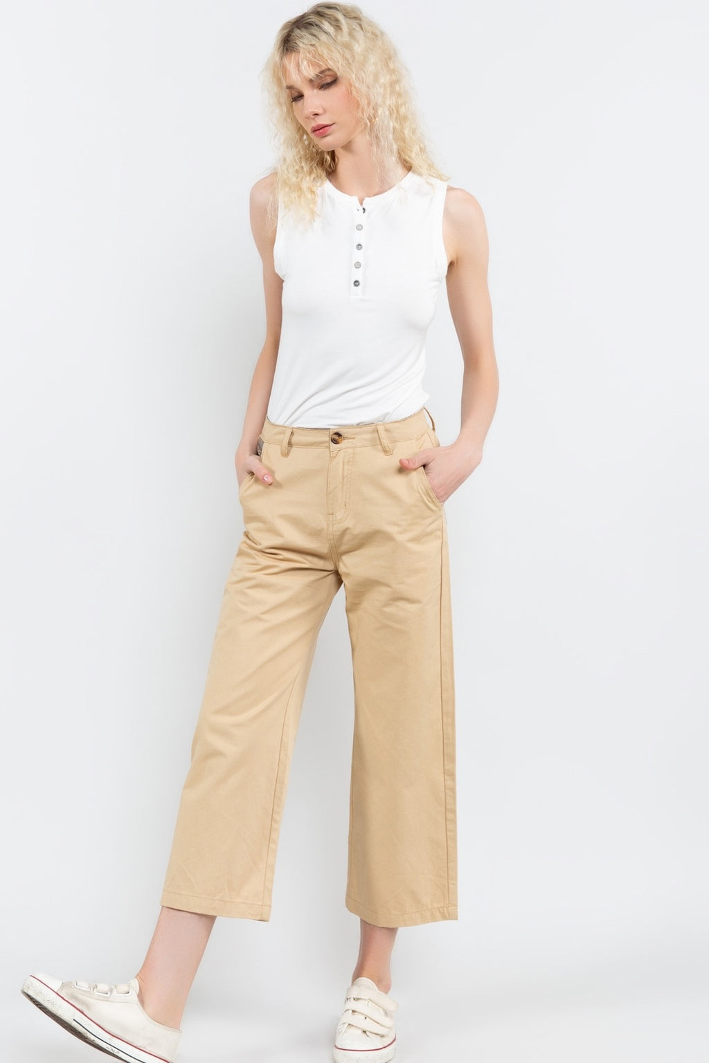PRAIRIE SAND CROPPED TWILL PANTS