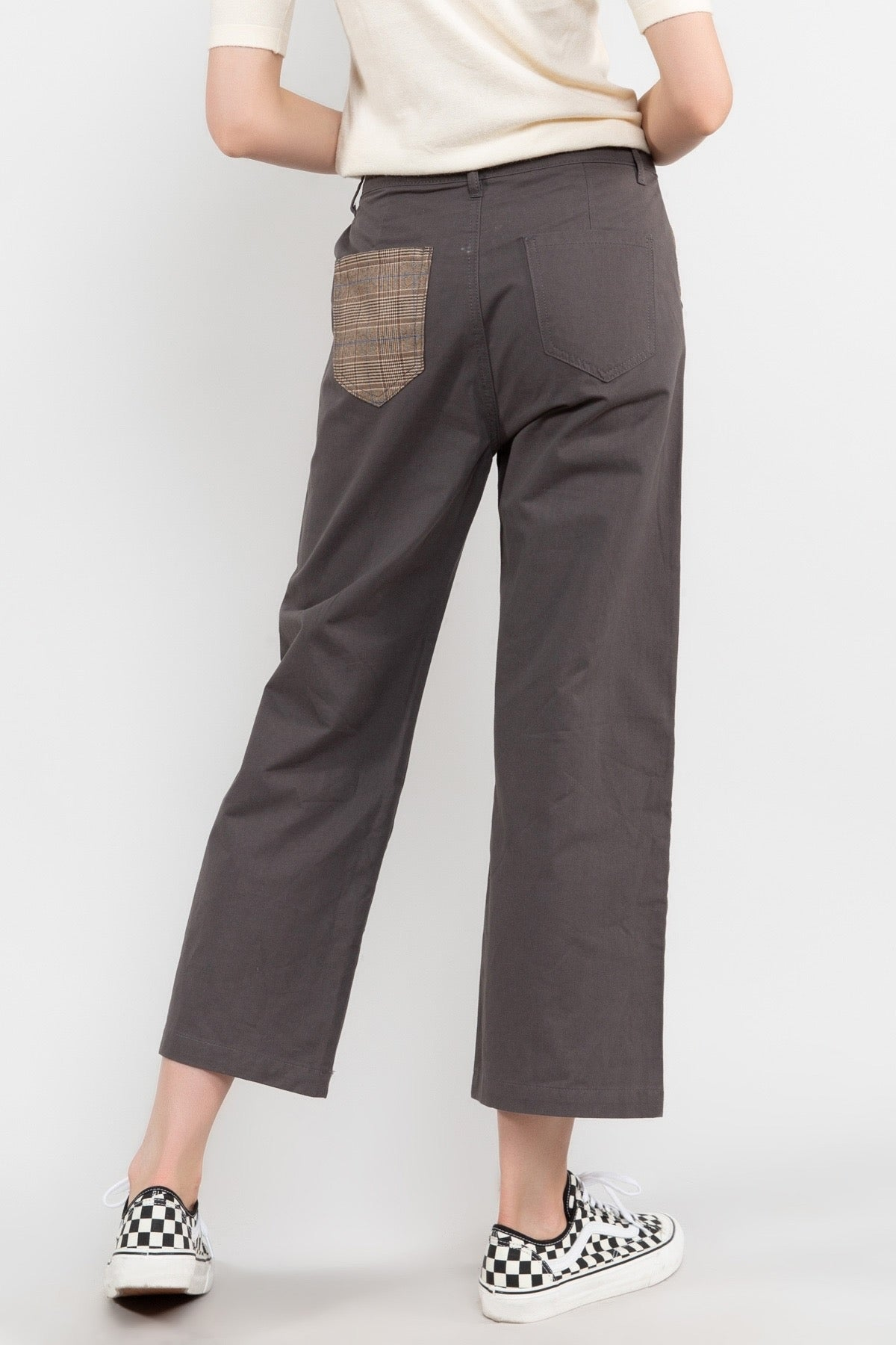CHARCOAL CROPPED TWILL PANTS