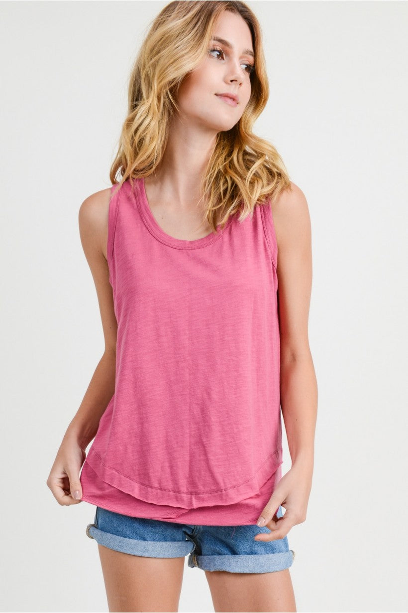 RED PLUM - CASUAL COTTON RIB TANK