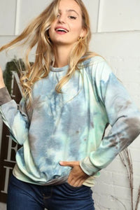 BLUE & GREEN MIX TIE DYE BLOUSE