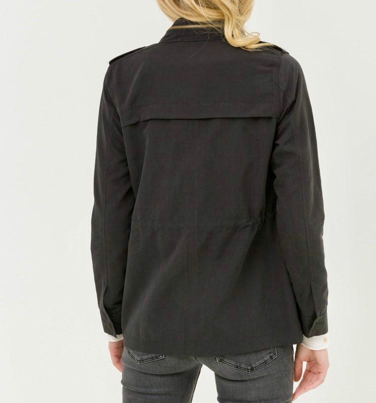 steelblue black Long Sleeve Front Zipper And Button Detail Jacket lightweight