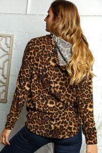PLUS GOLDEN TAUPE ANIMAL PRINT HOODIE