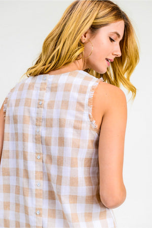 checkered button down back sleeveless