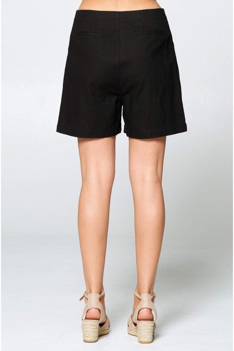 PIRATE BLACK BUTTON DOWN PLEATED SHORTS