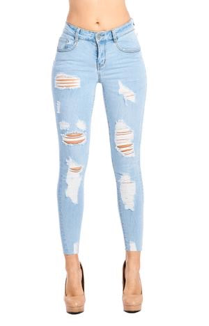 DESTROYED SKINNY JEANS WITH RAW HEM