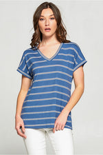 Women's V-Neck Striped Casual Pull over Top