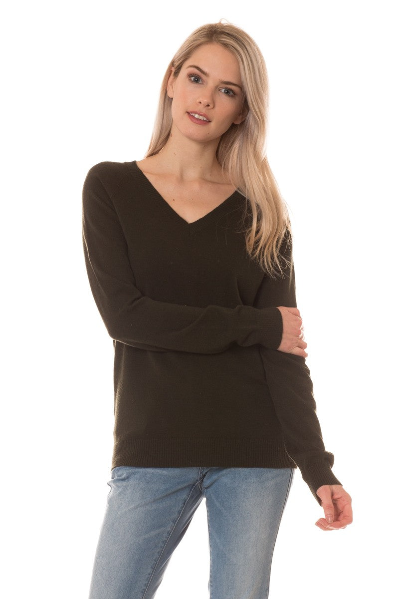 steelblue V Neck Fine Knit Sweater Top  brown