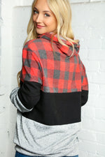 BLACK GREY & RED PLAID BLOCK HOODIE