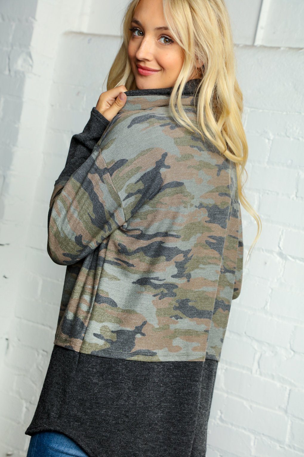 OLIVE & CAMO TURTLE TWO-FER BLOUSE