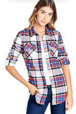 WOMEN'S PLAID FLANNEL LONG SLEEVE BUTTON SHIRTS