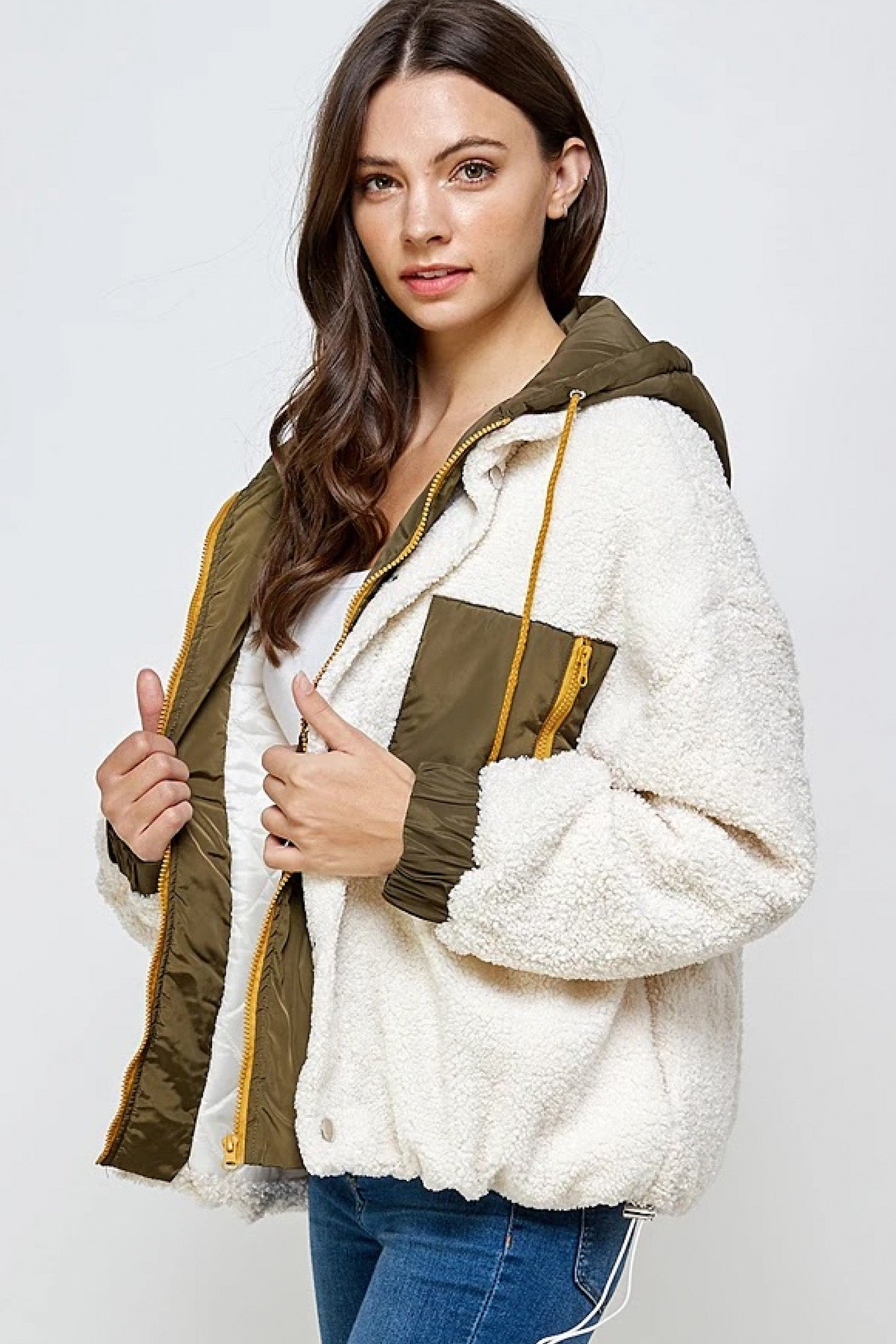 MIX MEDIA HOODED SHERPA JACKET