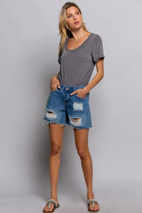 Dristressed Denim Short with Freyed Hem