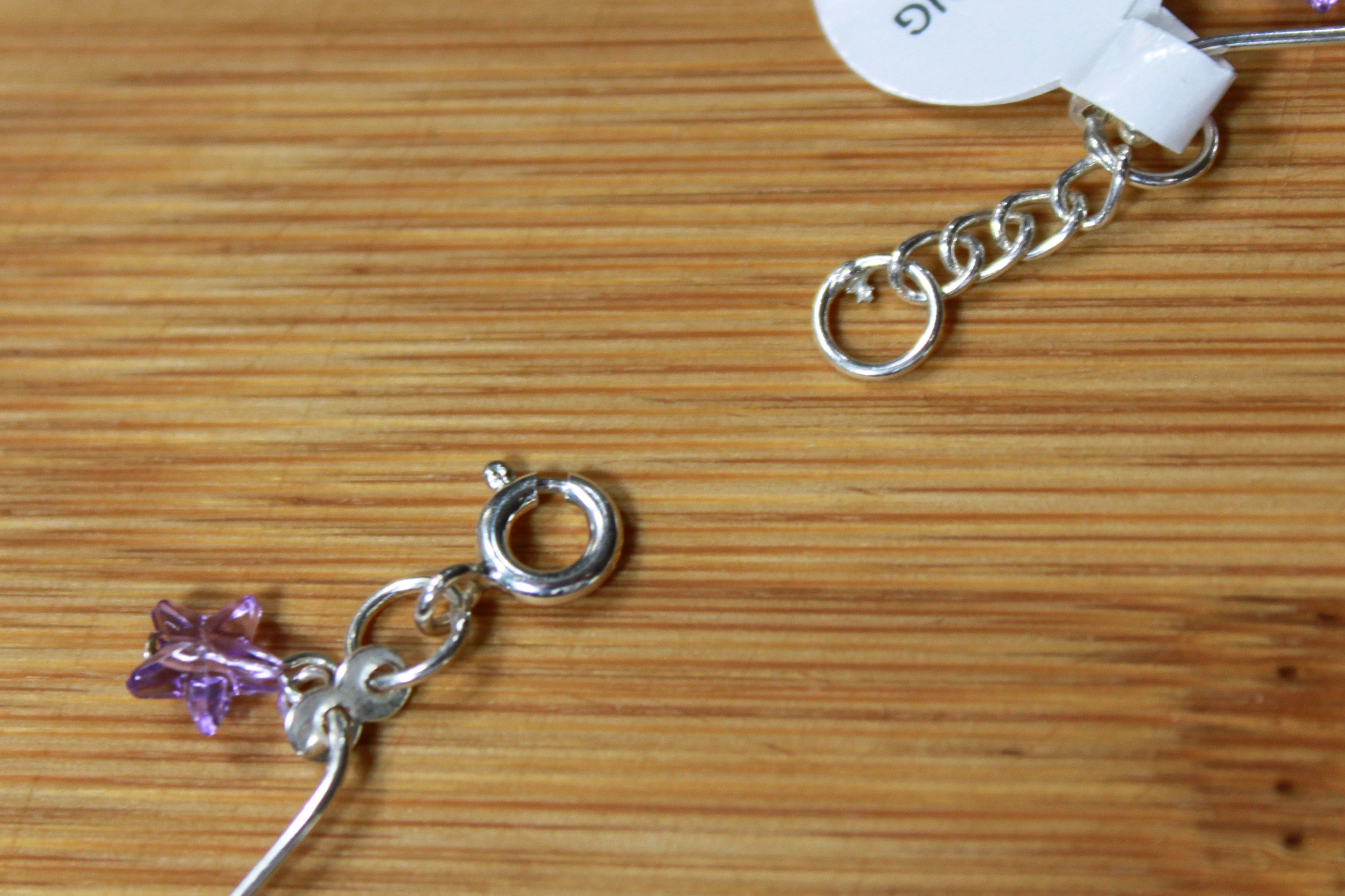 Sterling Silver Bead Anklet With Purple Stars