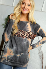 BLACK & ORANGE TIE DYE ANIMAL PRINT DETAIL BLOUSE